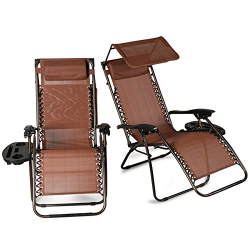 Belleze 2 Pack Zero Gravity Chairs Canopy Shade Cover Adjustable Headrest Pillows Ergonomic Recliner Phone Slots, Brown