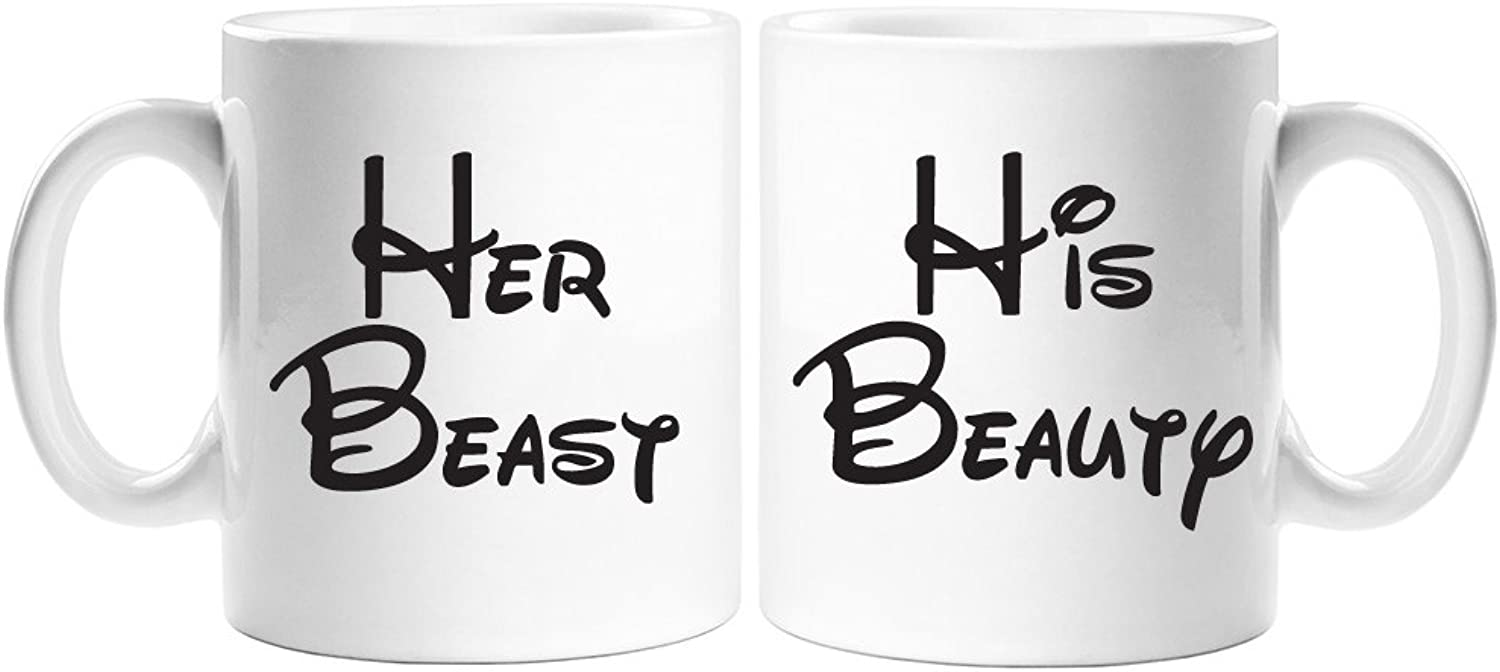Her Beast and His Beauty White Coffee Mug Set