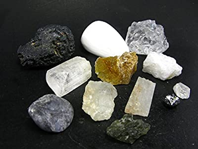 Rare Complete Synergy Twelve 12 Set Of Crystals - Phenakite Moldavite Natrolite Petalite Danburite Tektite Azeztulite Scolecite Herderite Tanzanite Brookite Satyaloka