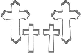 MOMOONNON 4 Pieces Holy Cross Shaped Cookie Cutter Fondant Decoration Ideas Christian Cookie Cutters Set