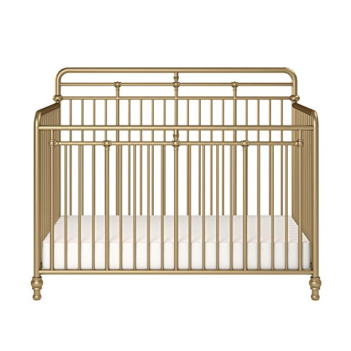 Little Seeds Monarch Hill Hawken 3 in 1 Convertible Metal Crib, Gold