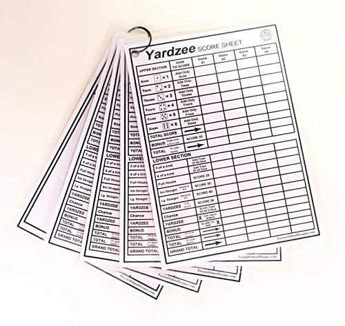 Yardzee and Yarkle 5' x 7' Yard Dice Dry Erase Score Cards - pack of 5, includes 4 Yardzee and 1 Yarkle Scorecards with Rules on back