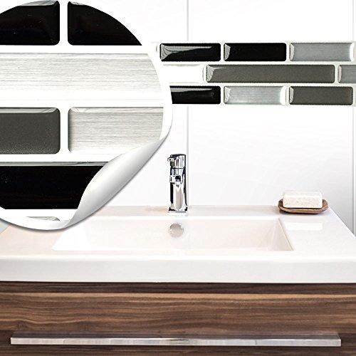 Wandora 5 Stück 27,9 x 4,3 cm Fliesenaufkleber schwarz grau Silber Ziegel I Selbstklebende 3D Fliesen Küche Bad Fliesendekor Fliesenfolie Wandaufkleber W1492