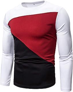 T-Shirt da Uomo Slim Fit Girocollo Camicie a Maniche Lunghe Moda Patchwork Tempo Libero Camicia Comoda Primavera Autunno I...