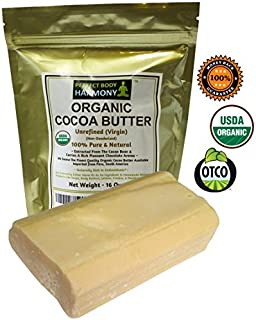 Real CERTIFIED Organic Cocoa Butter Bars, Premium Non-Deodorized, X-Large 1 LB Tot.Wt. BAR. AUTHENTIC ORGANIC! Amazing Chocolate Aroma From Cacao Beans! Naturally Rich In Antioxidants!