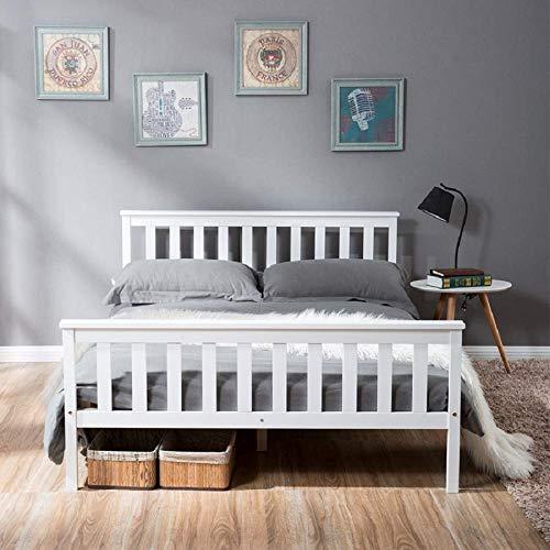 Doppelbett Holzbett 140 x 200 cm Massivholzbett mit Lattenrosten, Kieferbett für Erwachsene, Kinder, Jugendliche