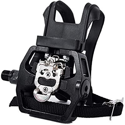 """YBEKI Spin Bike SPD Pedals - Hybrid Pedal with Toe Clip and Straps, Suitable for Spin Bike, Indoor Exercise Bikes and All Indoor Bike with 9/16"""" axles. 6 Month Warranty"""