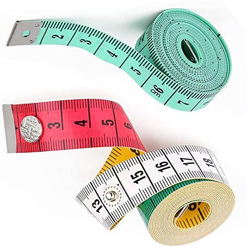 WDSZLH 2 uds 1,5 m Regla de medición Corporal Cinta métrica de Sastre de Costura Mini Regla Plana Suave centímetro Cinta métrica de Costura
