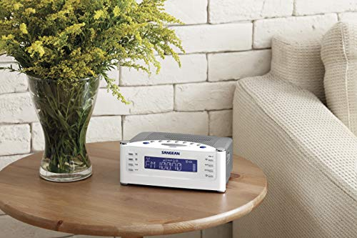 Sangean RCR-22 Atomic Clock with FM-RDS / AM / Aux-in Digital Tuning Clock Radio, silver, one size