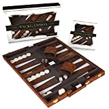 Crazy Games Backgammon Set - Classic Medium Brown 15 Inch Backgammon Sets for Adults Board Game with Premium Leather...