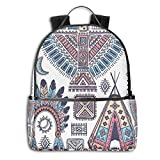 College Backpacks for Women Girls,Ethnic Teepee Tents Eagle Symbol Moon Sun and Feather Chief Hat Print,Casual Hiking Travel Daypack