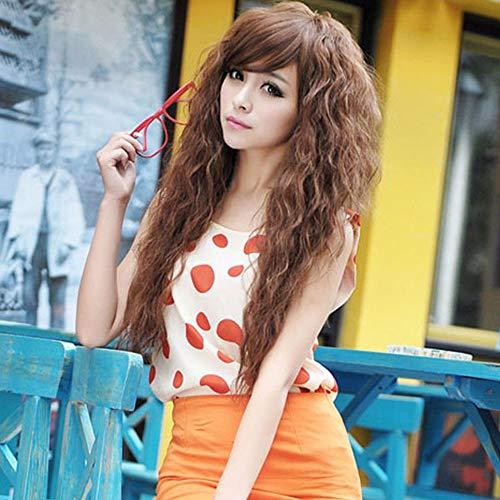 TopWigy largo rizado onda pelucas de pelo sintético oblicuo Bang Cosplay partido peluca 18 pulgadas (marrón claro)