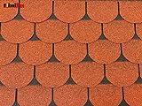 Isolbau Dachschindeln 6 m² Biberschindeln Ziegelrot (2 Pakete) Schindeln Dachpappe Bitumenschindeln Gartenhaus Vogelhaus Holz Kaninchenstall Betonsäulenüberdeckung Hundehütte