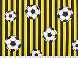 ab 1m: Fußballstoff, Fußball und Streifen, gelb-schwarz, 140cm breit