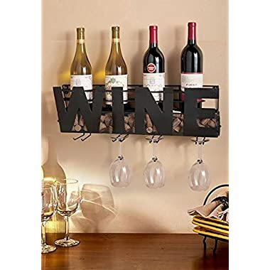 Deluxe Wall Mount Wine Rack Bottle Holder And Champagne Glass together ; Convenient, Stylish, Sturdy Construction, Ergonomically Design, Eye Catching Perfect In Every Home Home By CTD Store