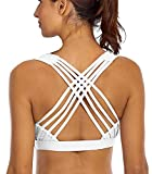 YIANNA Sports Bras for Women - Medium Support Strappy Sports Bra Padded for Yoga, Running, Fitness - Athletic Gym Tops,YA-BRA147-White-S