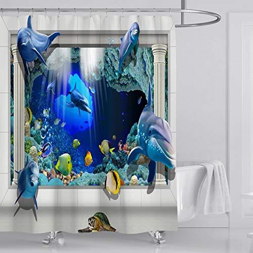 Fmiljiaty Artwork Print Psychedelic Blue Ocean Duschvorhang 3D Fisch Bad Vorhang Polyester Stoff Bad Vorhang Kunst Dekoration -180 * 180CM
