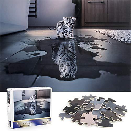 Cangroo Puzzle 1000 Pièces Adulte,Chat Et Tigre Puzzle Adulte,Puzzle Enfant,Puzzle Impossible,Puzzle 1000 Pieces Tigre Blanc(75*50cm)