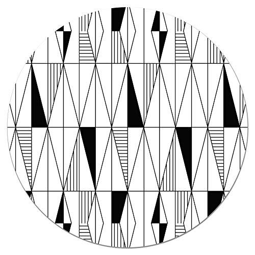 Panorama Tapis du Sol Vinyle Ronde Losanges 100x100 cm - Tapis de Cuisine en PVC Linoléum Vinyle - Antidérapant Lavable Ignifuge - Tapis pour Cuisine Bureau Salon - Protection du Sol