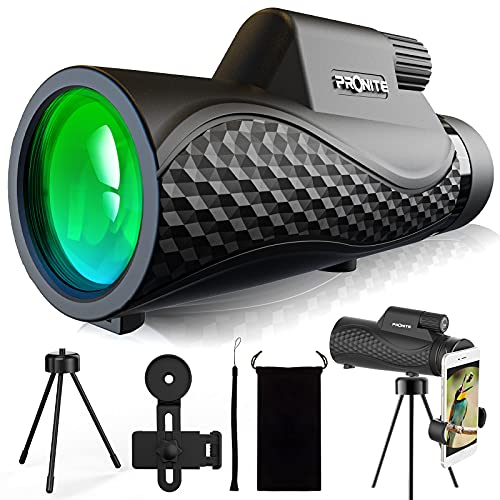 Pronite 12X50 Monocular Telescope for Adults - Waterproof Monocular for Birds Watching Hunting Sports, Monocular with BAK4 FMC Lens, Monocular with Smartphone Holder