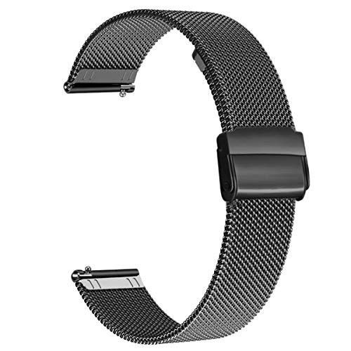 WOTORY Cinturino Ricambio per Amazfit GTS, cinturino di ricambio in acciaio inossidabile con rete a sgancio rapido per Huami Amazfit Bip, Amazfit Bip lite, Amazfit gtr 42mm, Nero