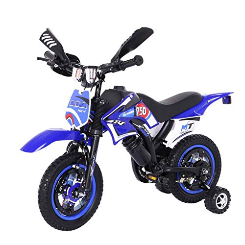 Children Motorcycle Bike, Outroad Bike for Children Boy Girl Freestyle Bicycle 12 Inch with Training Wheels, Kickstand for 18' Kids Bicycle【U.S. in Stock】