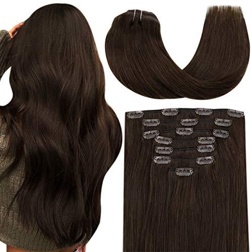 Hetto Double Trame Clip in Extensions Cheveux Lisse,Humains Marron Foncé Lisse Vrais Cheveux Remy Human Hair Clip Extension 22 Pouces 7 Pièces 100g par Paquet