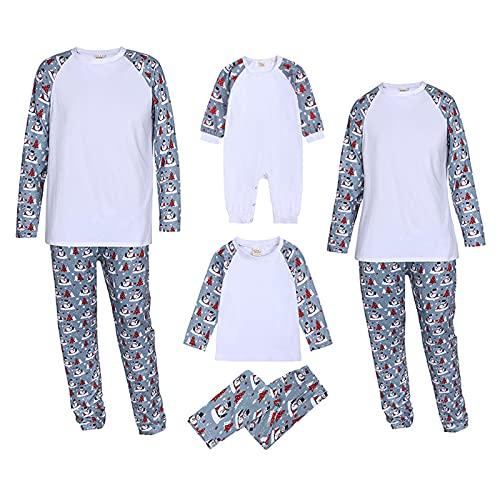 yiouyisheng Weihnachts Familien Schlafanzug Herbst Winter Nachtwäsche Nachthemd Schneemann Drucken Hausanzug Pyjamas Set für Vater Mutter Baby Kinder Junge Mädchen