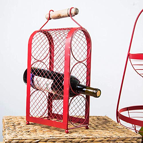 Wine Rack Tabletop Wine Shelf Made From Red Chicken Wire