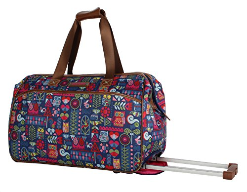 Lily Bloom Luggage Designer Pattern Suitcase Wheeled Duffel Carry On Bag (22in, Geo Critter)