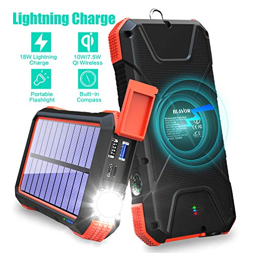 BLAVOR Solar Charger Power Bank 18W, QC 3.0 Portable Wireless Charger 10W/7.5W/5W with 4 Outputs & Dual Inputs, 20000mAh External Battery Pack IPX5 Waterproof with Flashlight & Compass (Red)