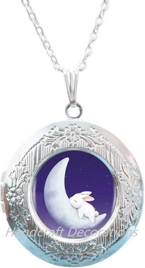 Rabbit to The Moon Locket Necklace,Cute Rabbit Locket Necklace, Bunny Locket Necklace, Cute Jewelry, Christmas Gift Locket Necklace Jewelry Glass Dome Locket Necklace Charm Jewellery.F260
