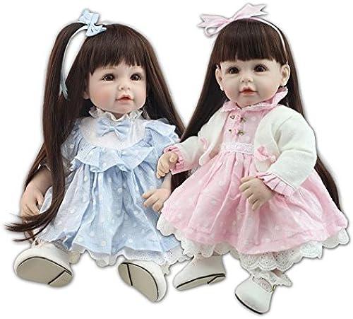 QXMEI Reborn Spielzeug Weiße Puppe 20 Zoll 52 cm Kinder L eln Prinzessin Kleid Wiedergeburt Puppe,BlauRosa