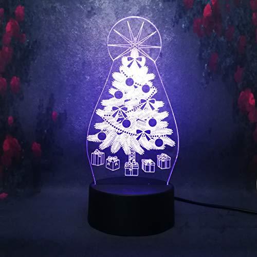 Lámpara de mesita de noche inteligente árbol de Navidad LED de dibujos animados iluminación para dormir luz nocturna lámpara de mesa 3D decoración lámpara de bricolaje luminosa de 7 colores