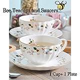 Biene und Blumen Teetassen und Untertassen Keramik Teetasse Tasse Kaffee (1 Tasse und 1 Platte)
