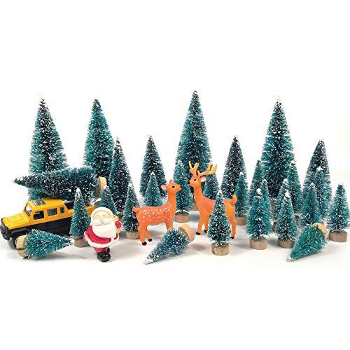 Cemobile 33PCS Mini Christmas Trees Set Miniature Ornament Bottle Brush Alberi, Snow Frost Trees Desktop Piccolo Albero di Pino, Babbo Natale, Alce per Decorazioni Natalizie Fai da Te