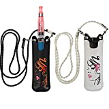 2PCS PU Pouch with Long Lanyard for JUUL and Other Vape Pen MYLE,stiiizy and Flat Cigarette NRX,VTV, PHIX Lanyard Necklace (Black + White)