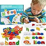 Letter Recognition Spelling Game , Alphabet Puzzle Game Toy Set of 52 wooden letters and 28 Double-Sided Word Pattern Cognition Cards Develops Vocabulary and Spelling Skills Toys for Kids Toddlers