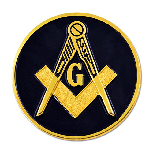Square & Compass Round Masonic Auto Emblem - [Black & Gold][3'' Diameter]