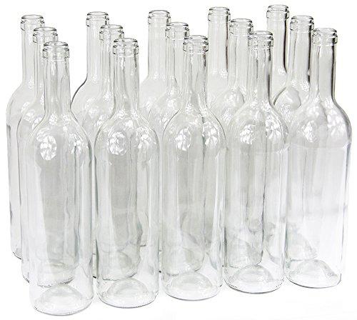 Bouteille de vin 750ml sans/avec bouchon Bouteille en verre Bouteille vide pour vin, liqueur, 3couleurs, Weiß, 16 Stk. ohne Korken