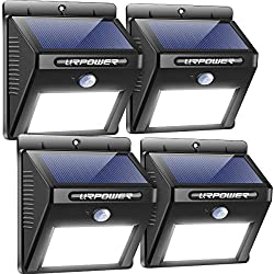 URPOWER Solar Lights 8 LED Wireless Waterproof Motion Sensor (4-Pack)