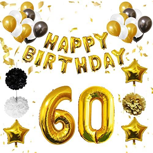 BELLE VOUS Ballons et Decoration Anniversaire 60 Ans (26 Pièces) - Deco Anniversaire Réutilisable en Papier Doré avec Happy Birthday - Ballons en Latex Noirs, Blancs et Ors et Pompoms
