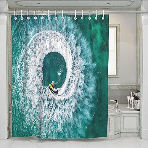ZDPLL Cortina de Ducha Impresa en 3D Vórtice Azul y Surf Cortinas de duche em poliéster impermeável, para la decoración del hogar 180x220cm
