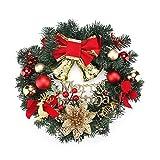 ShangSky Weihnachtsgirlande, Wandbehang, Dekoration aus PVC für Haustür, Kranz, Partys, Schulen, Büros, Bars, Karneval, groß (rot/goldfarben, Glocke)