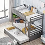 Twin Over Twin Bunk Beds for Kids, Bunk Bed with Trundle, Wooden Twin Size Trundle Bed Frame with Safety Rail and Ladder (Gray)