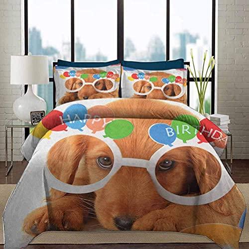 Juego de funda nórdica para ropa de cama para niños, cumpleaños, juego ligero de lujo, celebración, cachorro, dorado, con gafas, globos, presente, tema de fiesta, arte decorativo, juego de cama de 3 p