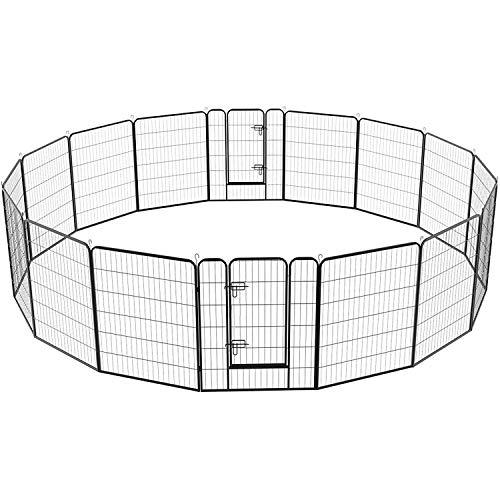 Yaheetech 16 eckig Welpenauslauf Welpenlaufstall Freigehege Welpenzaun Gehege mit 2 Türen je Panel 80 x 100 cm Outdoor oder Indoor