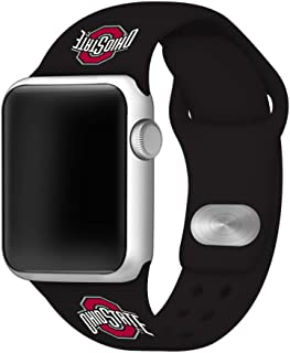 AFFINITY BANDS Ohio State Buckeyes Silicone Watch Band Compatible with Apple Watch (Black, 42mm/44mm) - Licensed NCAA Watch Band