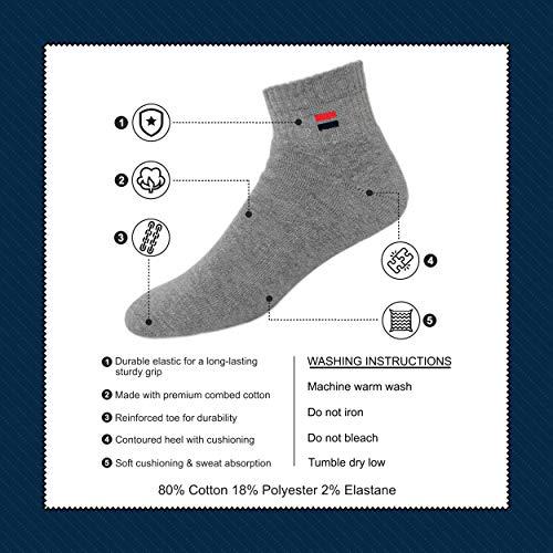 NAVYSPORT Men's Cotton Cushion Comfort Quarter Athletic Socks, Pack of 6 (Shoe Size: 5-8,3P Black, 3P White)