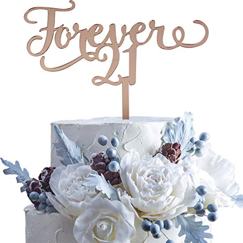Rose Gold Forever 21 Cake Topper 21 Years Together Cake Topper Twenty-one AF Cake Topper, Funny 21st Birthday,Cheers to 21 Years Party Decorations Happy 21st Birthday Cake Topper,Hello 21, Cheers to 21 Years,21 & Fabulous Party Decoration (Rose Gold Twenty-one)